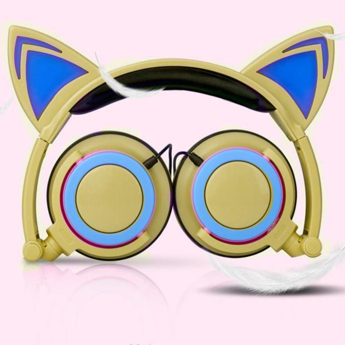 Cat Ears Super Bass Foldable Headband Wired Headphones Earphone Stereo Headset