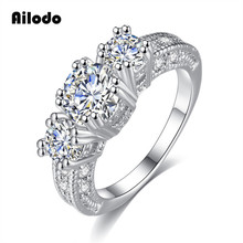 Ailodo Luxury Sparkling Rings For Women Girls Brilliant CZ Crystal Wedding Engagement Jewelry Bijoux Femme Gift Summer Sale