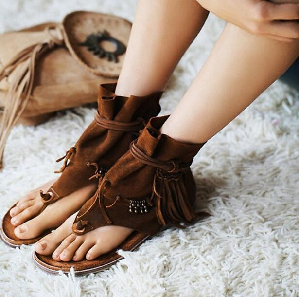 Summer Hot Brown Suede Leather Women Clip Toe Sandals Beading Fringe Ladies Lace Up Flat Sandals Roma Style Female Casual Shoes bohemian style summer celebrity lace up flat shoes pom poms cute sandals skyblue pink colorful clip toe comfortable dress sandal