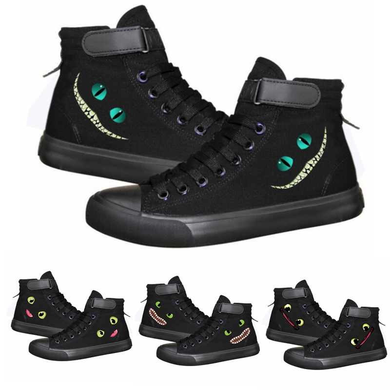 Movie Night Fury Toothless Eye Sneakers Canvas Shoes For Men Women Boots women Lace Up Shoes Flat Foot Wear