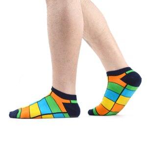 Image 5 - SANZETTI 16 ペア/ロットカジュアルなノベルティの男性カラフルな夏コーマ綿の足首のソックスチェック柄ストライプ幾何涼しいドレスボートソックス