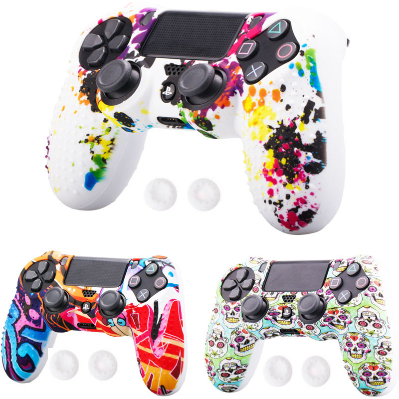PS4 Controller Dots Decal Silicone Gel Guards Sleeve Skin Grips Cover Case Caps For Playstation 4 PS4 Pro Slim Accessories 2019
