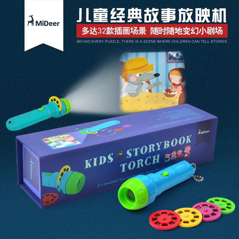 Kids Cartoon Storybook Projection Plastic Card Flashlight Toys Interactive Toys Kids Gifts Light Up Christmas Toys