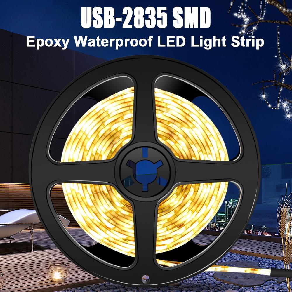 Usb Waterproof Led Strip 5v Fita Led Light Strip 2835smd Neon Lamp Bar 1m 2m 3m 4m 5m Tv Wardrobe Cabinet Flexible Ribbon Lights
