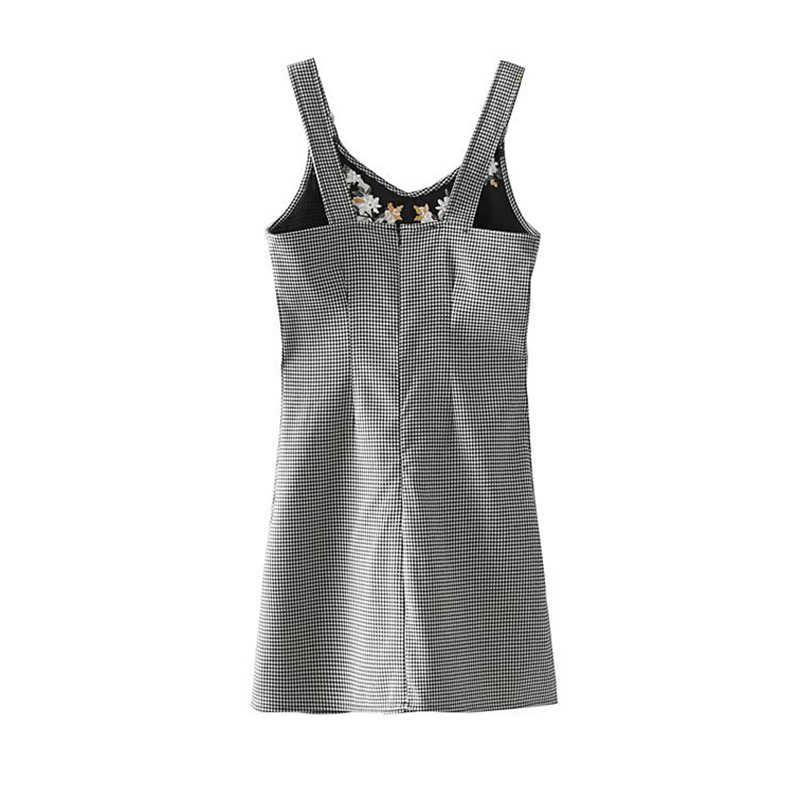 Женское мини-платье на лямках TWOTWINSTYLE, серое клетчатое повседневное платье с цветочной вышивкой на лето 2019