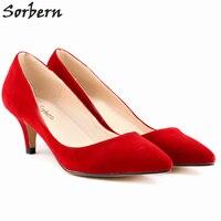 Sorbern Women Pumps Cheap Modest Ladies Party Shoes 6cm Heels Pumps Shoes Hot Sale Shoes Real Photo Colored EU34 42