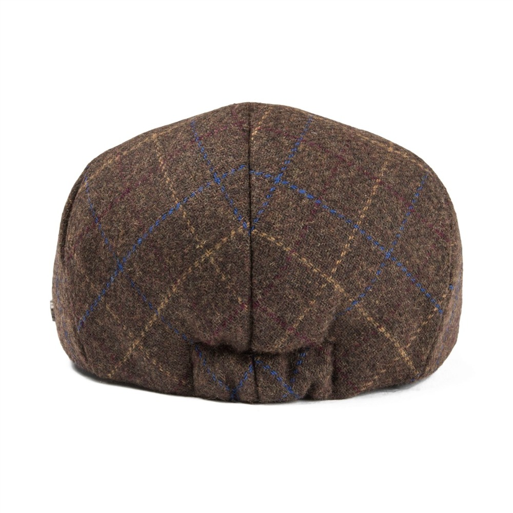VOBOOM Woollen Tweed Men Flat Cap Large Check Retro Vintage Newsboy Caps  Fall Winter Warm Ivy Hat Cabbie Driver Father Boina 185-in Newsboy Caps  from ... 5427a973dbd