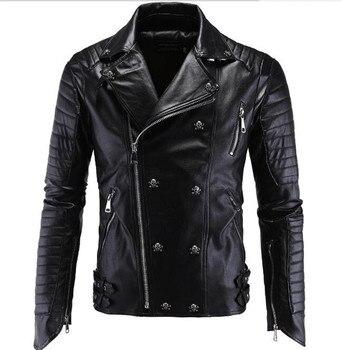 New Motorcycle Jacket Fashion PU Moto Leather Jackets Mens Faux Jacket Slim Fit Coats Moto Skull Jacket Coats Black