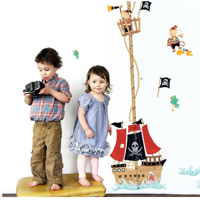 2018 Neymar Direct Selling Cartoon New Mural Art Pirate Ship Kids Height Stickers Wall Decal Removable Home Decoration Sticker
