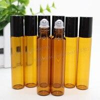 50pcs X 10ml Amber Roll On Roller Bottles For Essential Oils Roll On Refillable Perfume Bottle