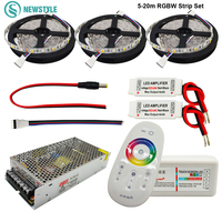 Hot Sale 60led/m DC12V Led Strip 5050 RGB RGBW Waterproof LED Light Tape +RF Remote controller Power adapter Kit 5m 10m 20m