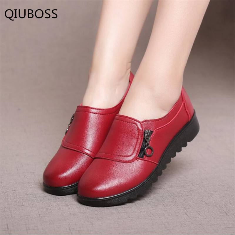 QIUBOSS 2018 spring Autumn Women's Shoes Fashion Casual Women Leather Shoes Ladies Slip On Comfortable Plus Size Work shoes Q140(China)