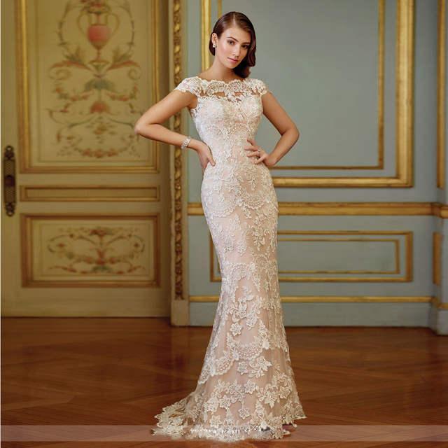 4922c5c5a520 placeholder Elegant Lace Mermaid Wedding Dresses 2017 Trendy Blush Pink  Detachable Train Modest Bridal Gowns Custom Made