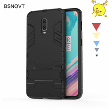 For OnePlus 6T Case Silicone+Plastic Kickstand Phone Holder Hard Anti-knock Cover Funda
