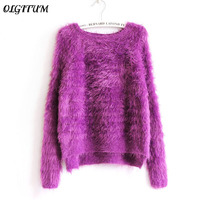 2016 New Winter Casual Long Sleeve Loose Thick Pullover Female O Neck Solid Mohair Ladies Sweater