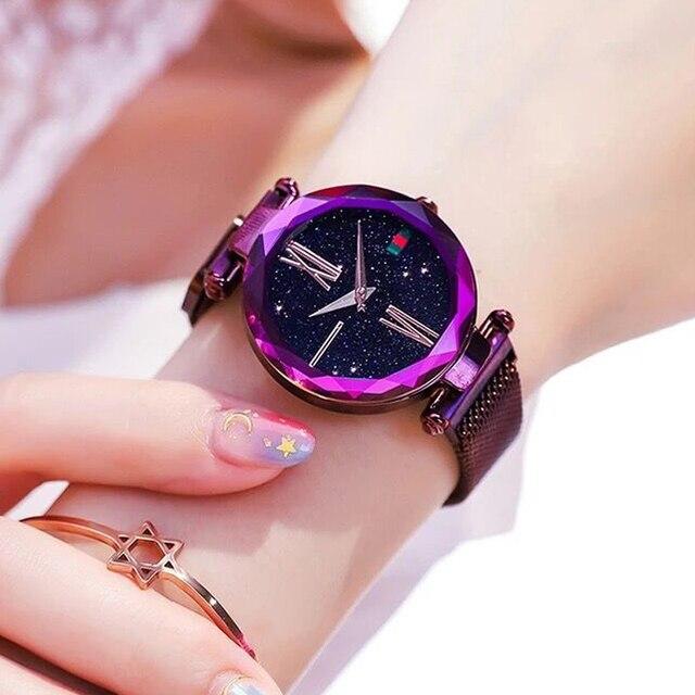 Luxury Ladies Starry Sky Watch Rose Gold Women Bracelet Watches Magnetic Bukle Mesh Fashion Casual Female Waterproof Clock Reloj 4