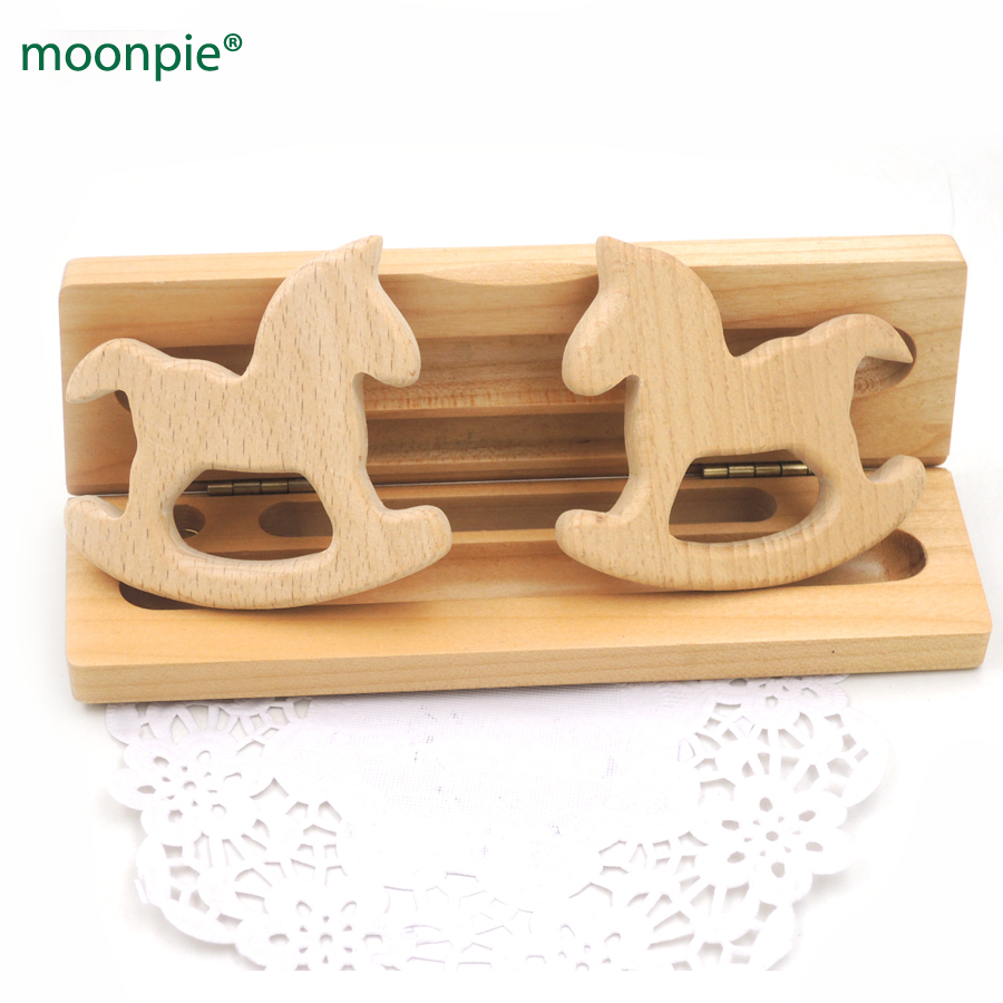 NEW 20pcs smooth wood Trojan horse shaped beech ring wooden teether toddler nursing toy educational shower gift EA297