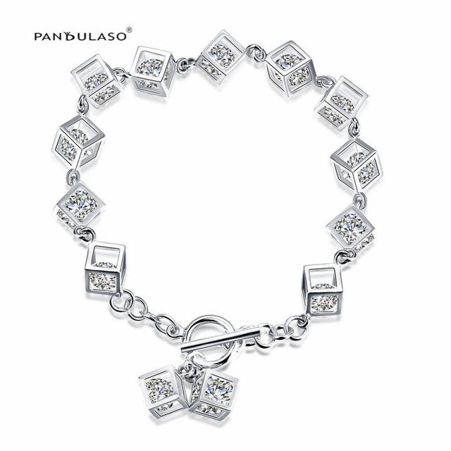 2016 New Euroepan 925-Silver-Jewelry Pulseira Pavimentada CZ Pedras Cubos de Charme Jóias Por Atacado