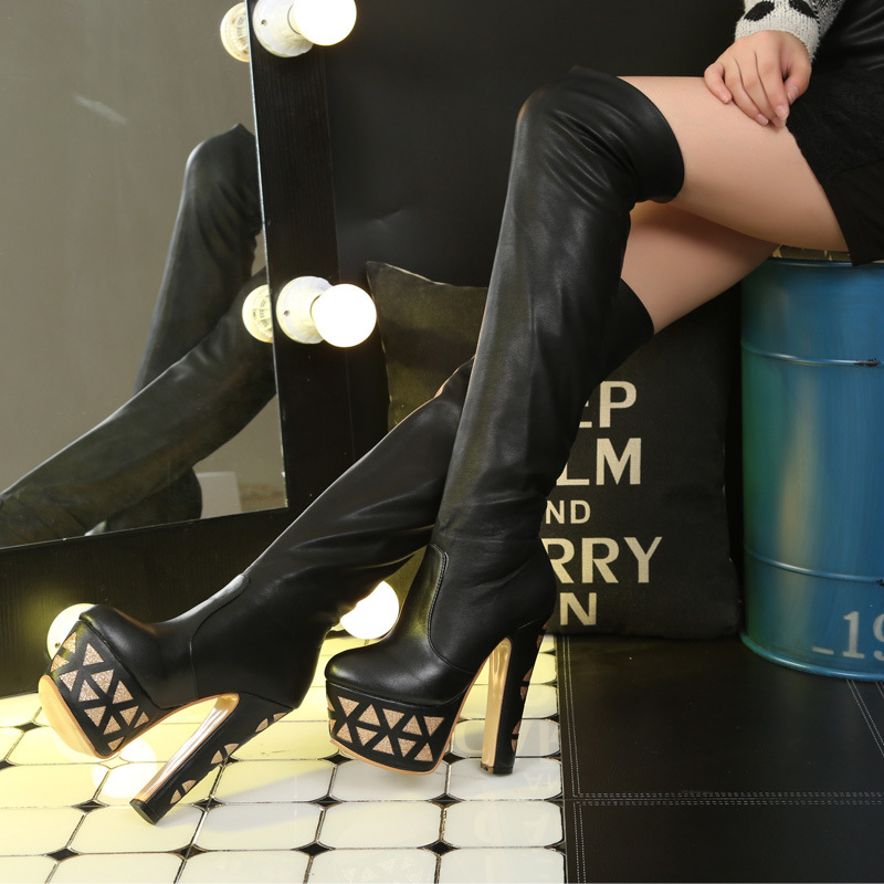 Discount Women s Winter New 15CM Over The Knee Boots Black White Chunky Heel Platform Shoes
