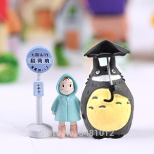 Studio Ghibli My Neighbor Totoro Umbrella Set Miniature PVC Action Figures Mei Micro Gnome Terrarium Figurines Mini Garden Decor(China)