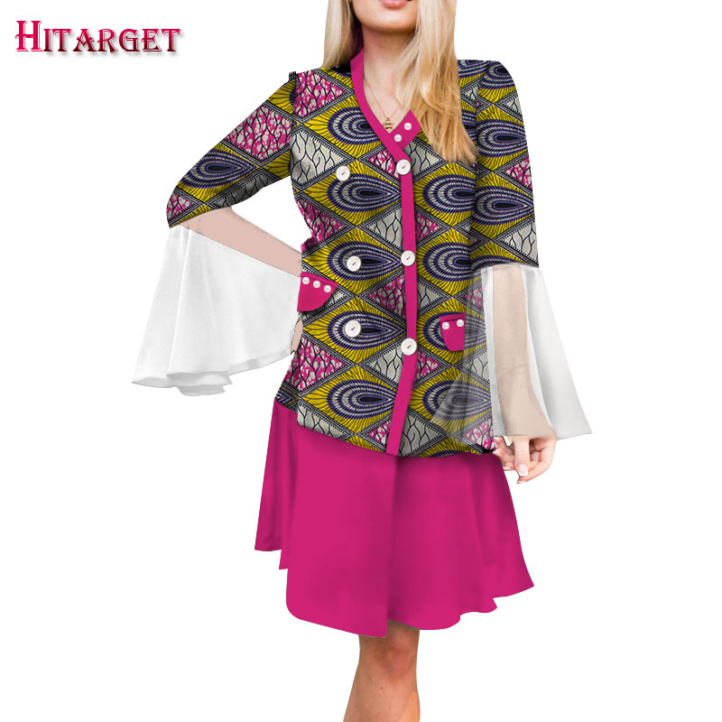 2019 Dashiki African Women Clothing Bazin Riche Summer Elegant chiffon Sleeveless Crop Top dress Ankara African Clothing WY4838