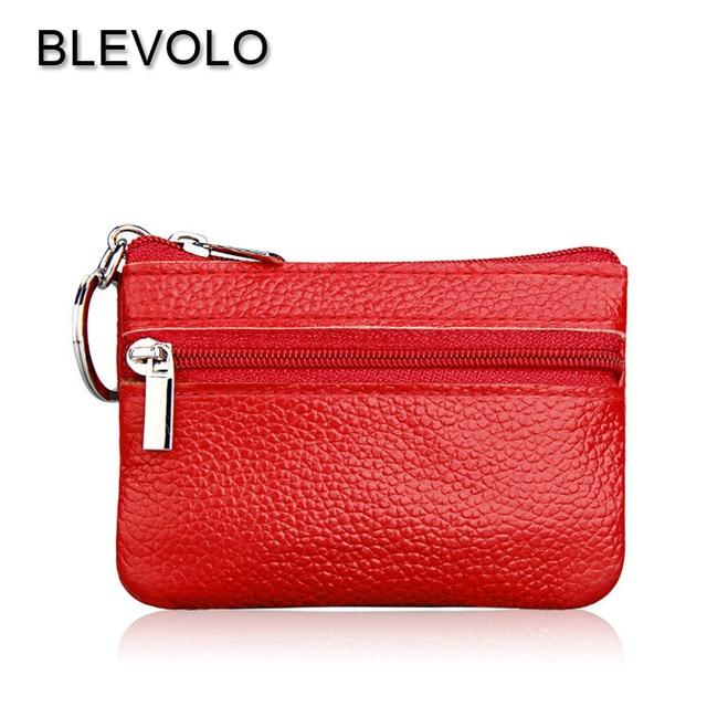 83e47996261 BLEVOLO Mini cuadrado mujer monedero cremallera cuero Real moneda bolsos  estilo coreano llavero para niñas pequeña