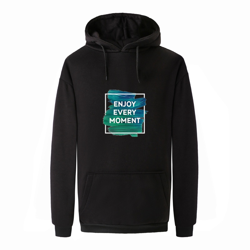 2018 Autumn Winter Women/Men ENYOY EVERY MOMENT Hoodies Sweatshirts Korean Letter Print Fleece Pullover Harajuku Tops Streetwear