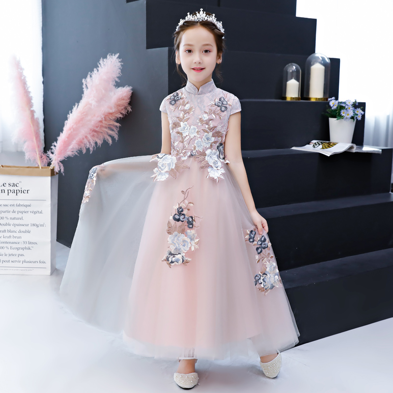 Stand Collar First Communion Dress Floor Length Kids Evening Gowns Appliques Flower Girl Dresses for Wedding Birthday Costume chiffon girls formal wedding dress flower girl evening dresses floor length kids graduation gowns children floral pleat costume