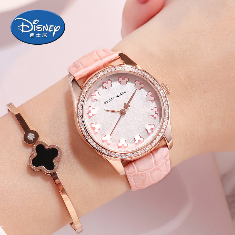 Disney women watches Leather Quartz Watches Kids Watches Mickey Mouse Quartz Clocks Waterproof Gift Box