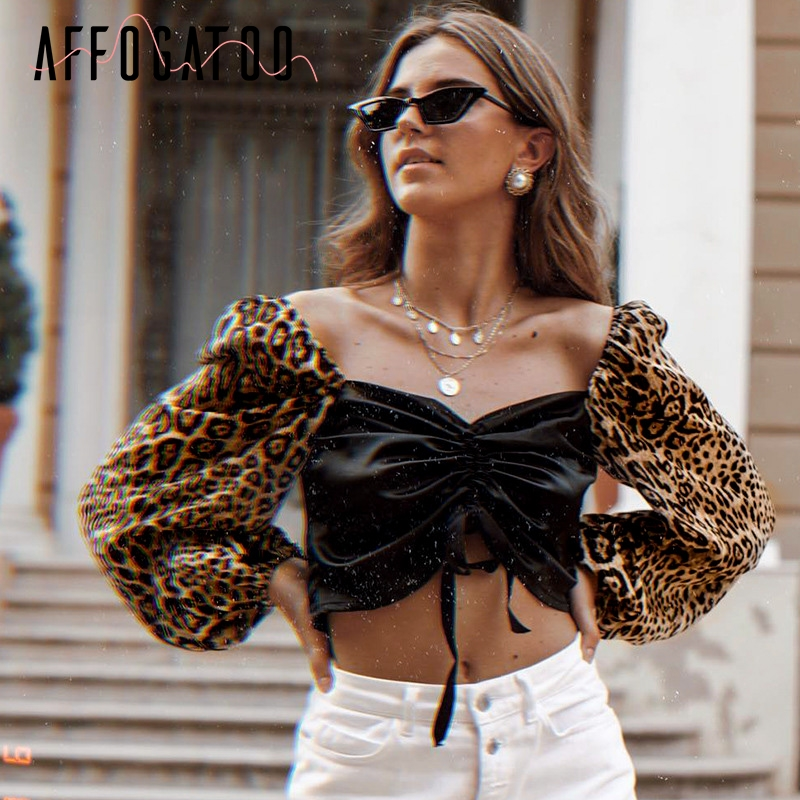 Affogatoo Sexy leopard print drawstring women   blouse     shirt   Vintage puff sleeve top clothing Square neck smocking harajuku   blouse