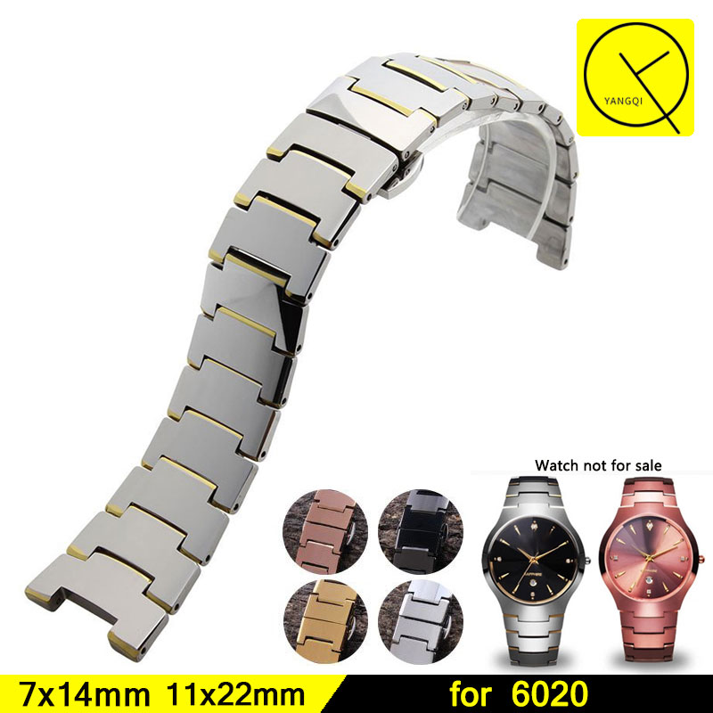 цена 22mm 14mm Tungsten Steel Heat Resistan Bracelets Stainless Steel Butterfly Buckle Strap for Rado 6020 Man Women Watch Band+Tools