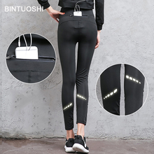 BINTUOSHI Sexy Women Yoga Pants With Pockets Sport Leggings Quick Dry Elastic Reflective Running Tights Jogging Fitness Trousers