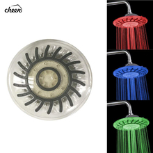 Cheen 8 Inch 20cm * 3 Colors Changing Water Powered Rain Led Shower Head Without Arm Bathroom Temerpature Automatic
