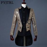 PYJTRL 2018 Men Gold Silver Red Blue Black Sequin Slim Fit Tailcoat Stage Singer Prom Dresses