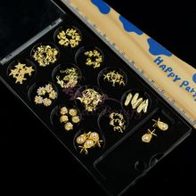 1 Set Black Boxed 60PCS Mix Summer Styles Shell Feather Starfish Mermaid Anchor Shapes Gold Plated Alloy Charms Nail Art 3D Deco(China)