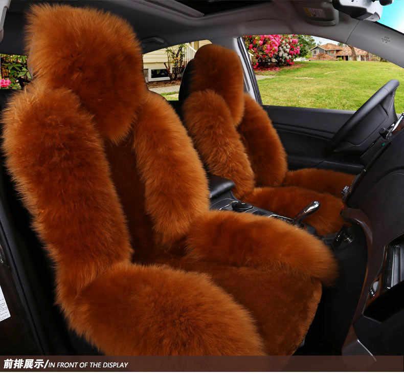 Чехлы для сидений из овчины универсальный Передний Меховой чехол для сиденья зимний теплый 100% натуральный шерстяной Авто длинные волосы и короткие плюшевые сзади сумка для хранения
