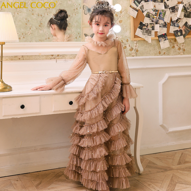 2019 mode nouvelle robe pour enfants modèle concours défilé longue robe de soirée robe de princesse Noble tempérament enfants dentelle robe