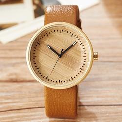 Wood Watch Male Ladies Simply Stylish Natural Wooden Wrist Watch Men Women Genuine Leather Unisex Quartz Minimalist Watch Gift