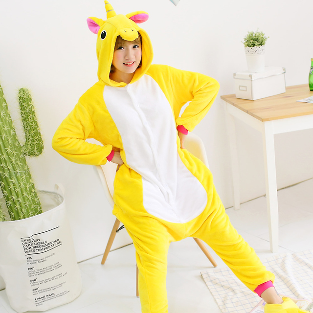 2018 HOT NEW Unisex cute Adult Flannel Hooded Yellow Pegasus Tenma Pajamas  Winter Women Onesie Homewear pijama animal adulto b7e66c5b6