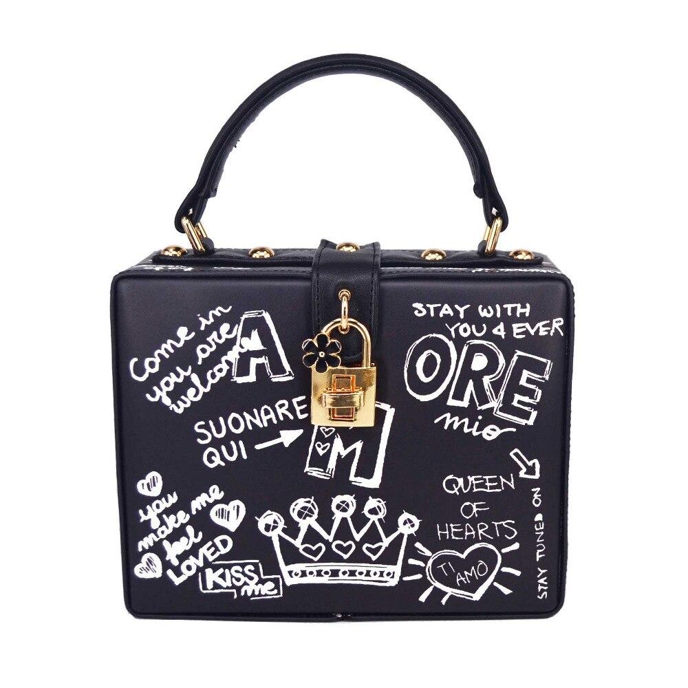 Noir Pu blanc lettres boîte forme serrure Designer femmes sangle sac à bandoulière embrayage sac à main Mini fourre tout sacs à main-in Sacs à bandoulière from Baggages et sacs    1