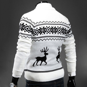 Image 2 - Deer Christmas Sweaters for Man O Neck Casual Pullover Male Sweater Men Jumper Mens Knitwear Sueter Slim Top Winter Sweters