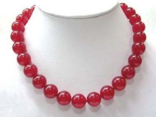 Women Gift Freshwater 10mm Red Beads Gem Necklace 18 quot in Chain Necklaces from Jewelry amp Accessories