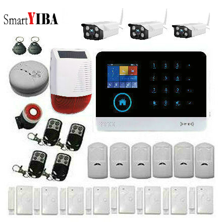цена SmartYIBA WIFI 2G GSM WIRELESS HOME BURGLAR ALARM SYSTEM SECURITY HOME Kits APP Control RFID Card Sora Siren Outdoor IP Camera
