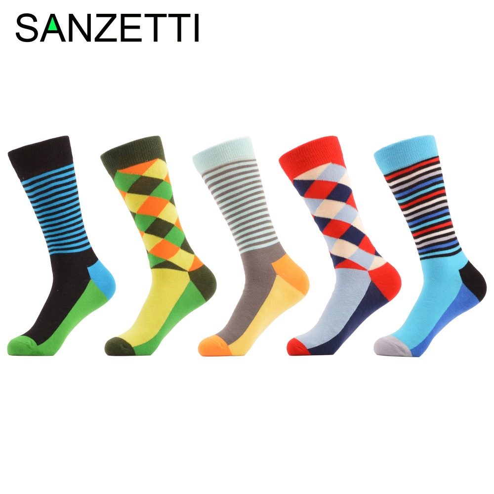SANZETTI 5 pairs/lot Hot Fashion Mens Combed cotton Cool Colorful Streetwear Star Crane Pattern Novelty Casual Business Socks