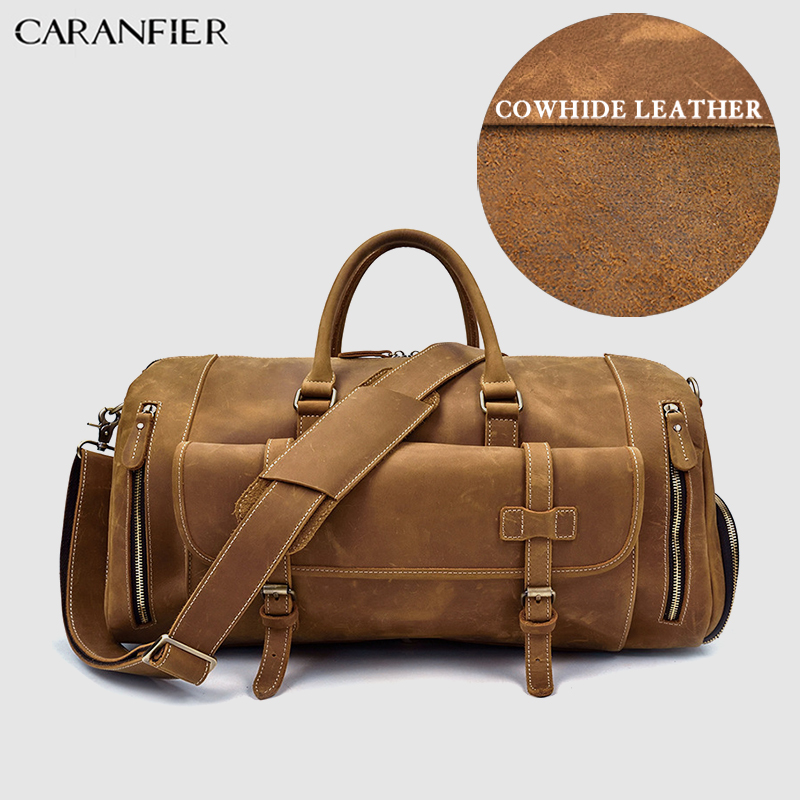 CARANFIER Men Crazy Horse Genuine Cow Leather Business Outdoor Travel Duffel Crossbody Shoulder Bags Large Capacity Luggage Pack