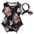 Linda Menina Romper Do Bebê Roupas de Verão 2017 Borla Floral Sunsuit Bodysuit Macacão + Bandana 2 PCS Outfit Treino Vestuário Set