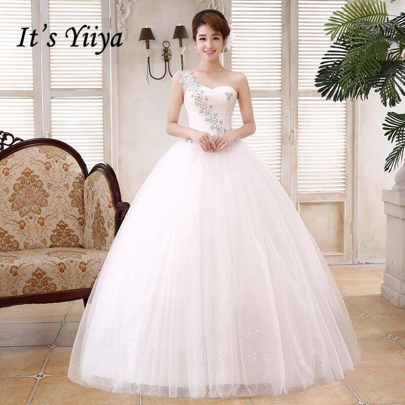 Penghantaran Percuma Manik Pinggang Satu Gaun Perkahwinan Bahu Putih Murah Panjang Gaun Bride Panjang Gambar Nyata Vestidos De Novia MH47