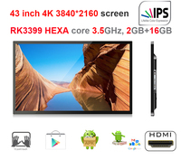 43 Inch 4K Android Touch All In One Pc Rockchip3399 3 5GHz Nougat 2GB Ddr3 16GB