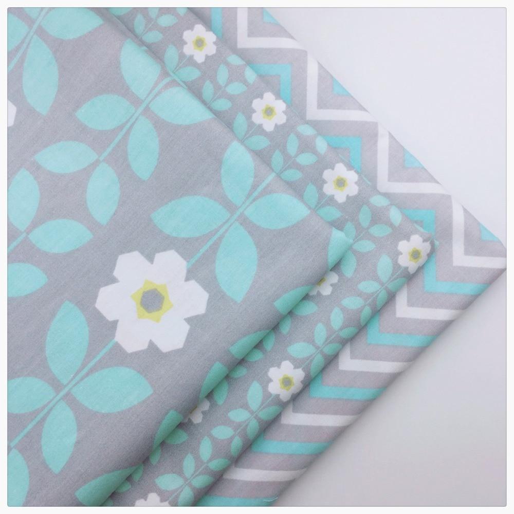 100% хлопок ткань серый цветочный волна Tissus Tecido метр стежка telas лоскутное платье Одежда Игрушка шитье «сделай сам» материал