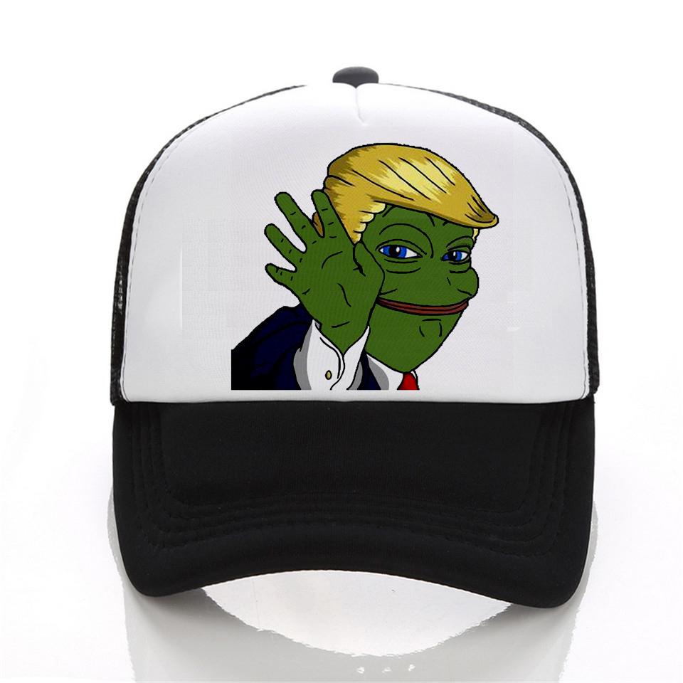 Fashion Hot Sale Men Snapback Baseball Caps Women Sad Frog Cattoon Pattern Hip Hop Hat Donald Trump Hat fashion handpainted palm sea sailing pattern hot summer jazz hat for boys